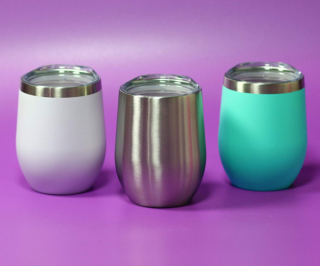 CHILLOUT LIFE 12 oz Stainless Steel Stemless Wine Tumbler with Lids and Straw 4 Pack - Powder Coated Aqua White - CHILLOUT LIFE