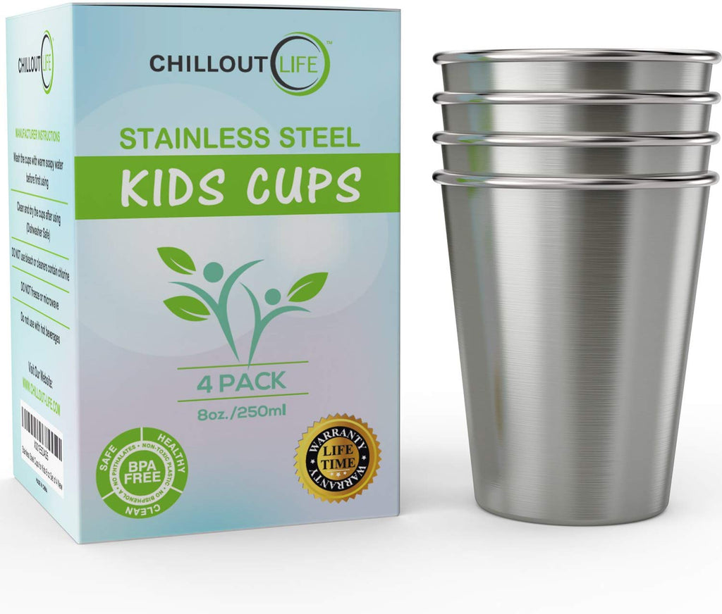 Stainless Steel Cups for Kids and Adult (4-Pack) - CHILLOUT LIFE