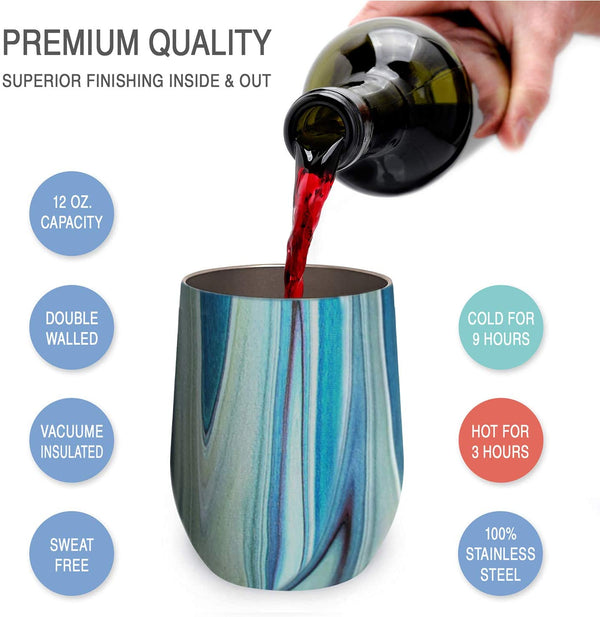 CHILLOUT LIFE 12 oz Stainless Steel Wine Tumbler 2 Pack for Coffee, Wine, Cocktails, Ice Cream, Ocean Marble  Wine Tumblers - CHILLOUT LIFE