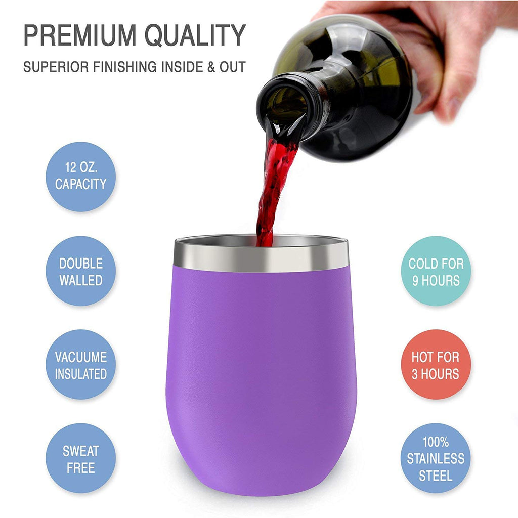 CHILLOUT LIFE 12 oz Stainless Steel Wine Tumbler 2 Pack for Coffee, Wine, Cocktails, Ice Cream, Purple Wine Tumblers