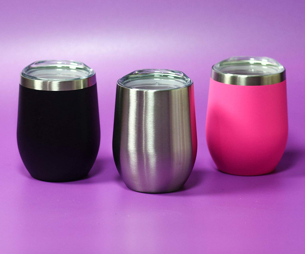 CHILLOUT LIFE 12 oz Stainless Steel Wine Tumbler 2 Pack for Coffee, Wine, Cocktails, Ice Cream, Hot Pink Wine Tumblers - CHILLOUT LIFE