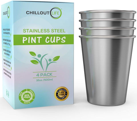 Stainless Steel Pint Cups Water Tumblers 16 oz - Metal Drinking glasses for Home & Outdoor Activities (4-Pack) - CHILLOUT LIFE