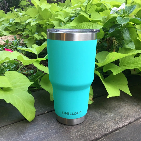 Stainless Steel Tumbler 30 oz with Sliding Lid - Powder Coated Tumbler, Aqua Blue - CHILLOUT LIFE