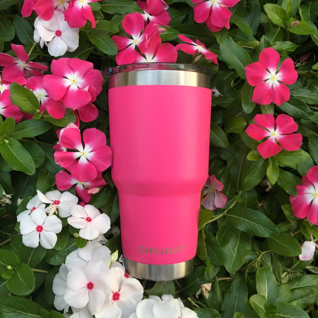 Stainless Steel Tumbler 30 oz with Sliding Lid - Powder Coated Tumbler, Hot Pink - CHILLOUT LIFE