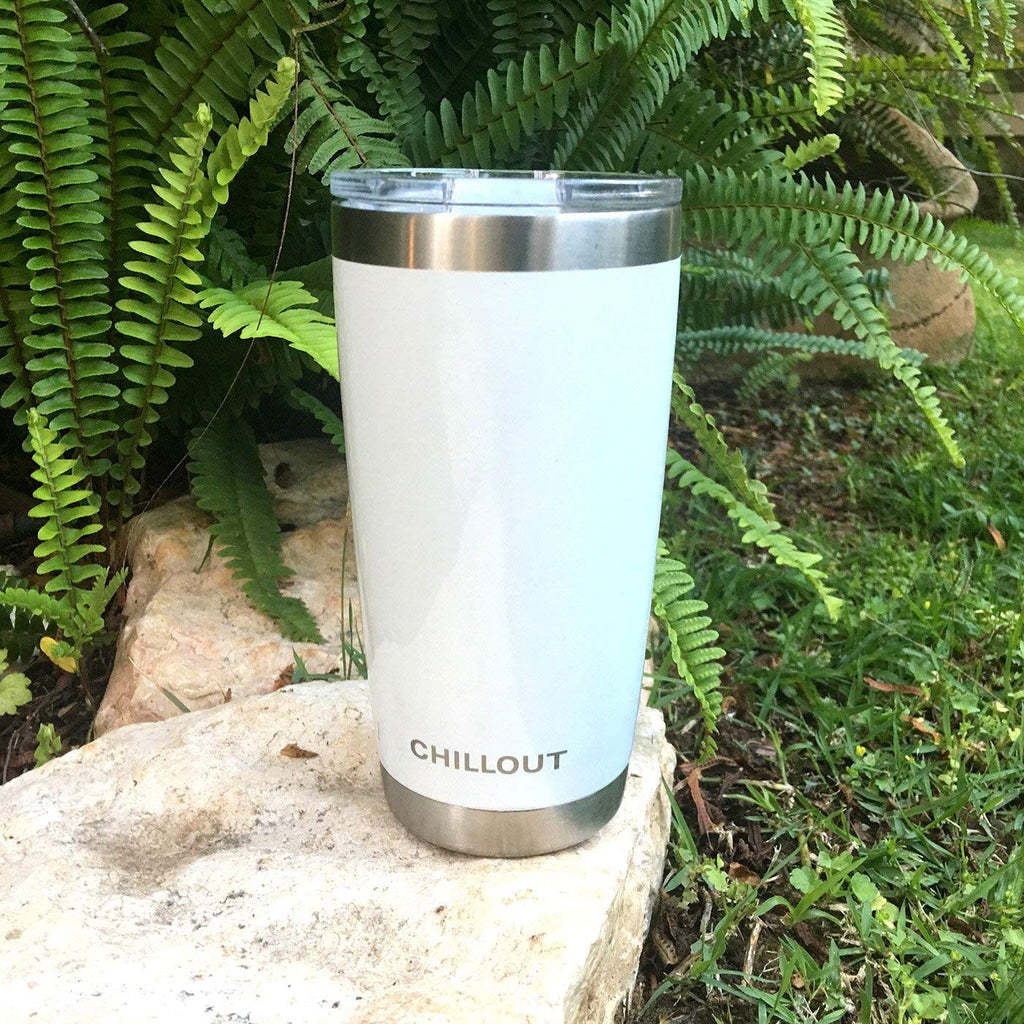 CHILLOUT LIFE 20 oz Stainless Steel Tumbler with Lid & Gift Box, Powder Coated Tumbler - White - CHILLOUT LIFE