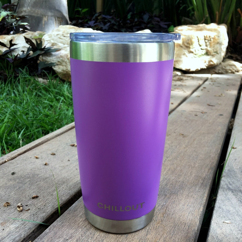Stainless Steel Tumbler 20 oz with Sliding Lid - Powder Coated Tumbler, Purple - CHILLOUT LIFE