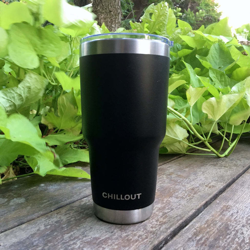 Stainless Steel Tumbler 30 oz with Sliding Lid - Powder Coated Tumbler, Black - CHILLOUT LIFE