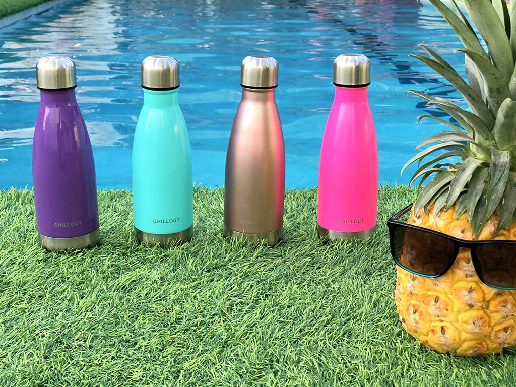 2 Pack Stainless Steel Water for Kids School: 12 oz Double Wall Insulated Cola Bottle Shape - Rose Gold - CHILLOUT LIFE