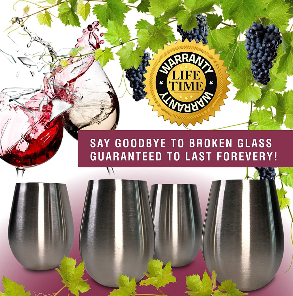 Stainless Steel Wine Glasses Set of 4, 18 oz | Stemless metal wine glasses 4 pack | Unbreakable, Dishwasher Safe, BPA Free, Great for Indoor & Outdoor Use | Steel Wine Cups - Perfect Gift - CHILLOUT LIFE