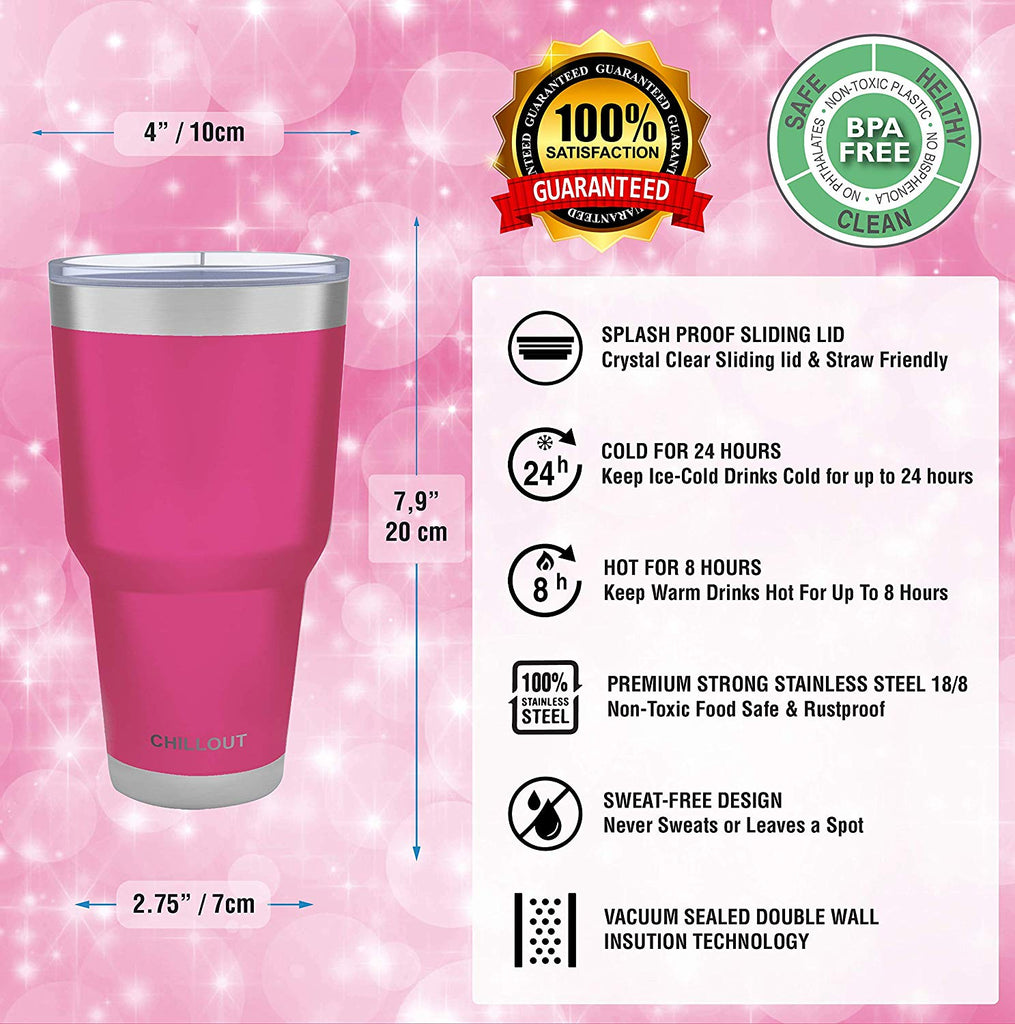 Stainless Steel Travel Mug with Handle 30oz – 6 Piece Set. Tumbler with Handle, Straw, Cleaning Brush & 2 Lids - Hot Pink Powder Coat Tumbler - CHILLOUT LIFE