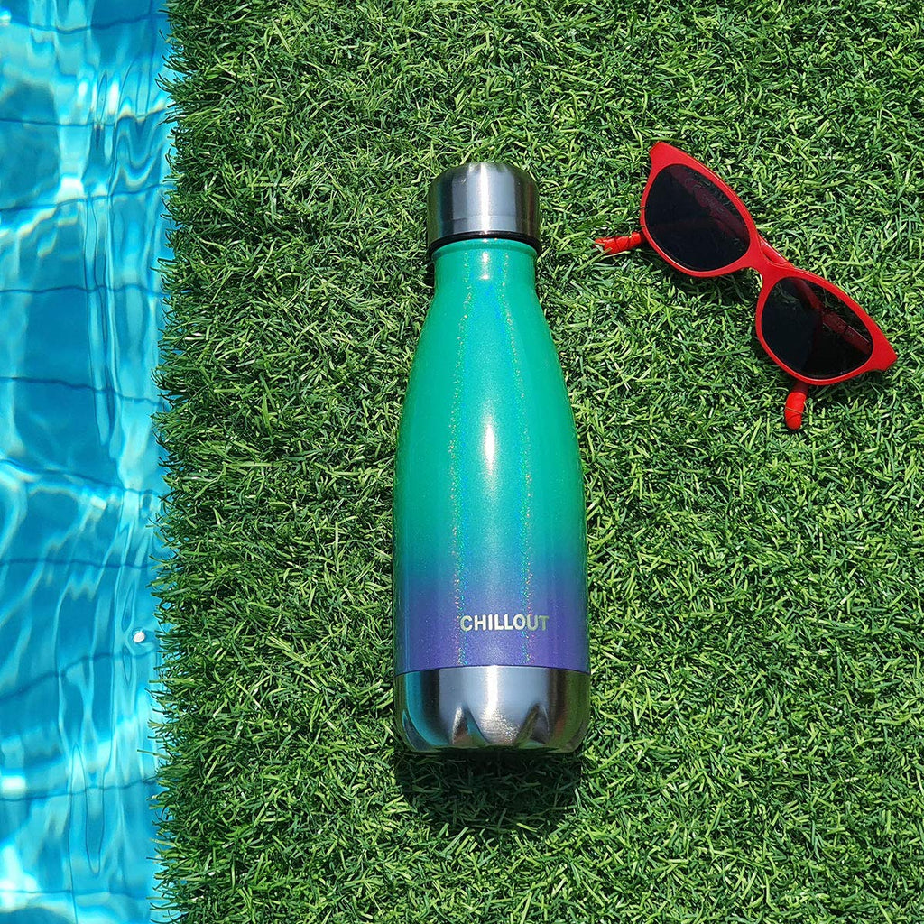 CHILLOUT LIFE Stainless Steel Water Bottle for Kids School: 12 oz Double Wall Insulated Cola Bottle Shape - Mermaid Sparkle - CHILLOUT LIFE