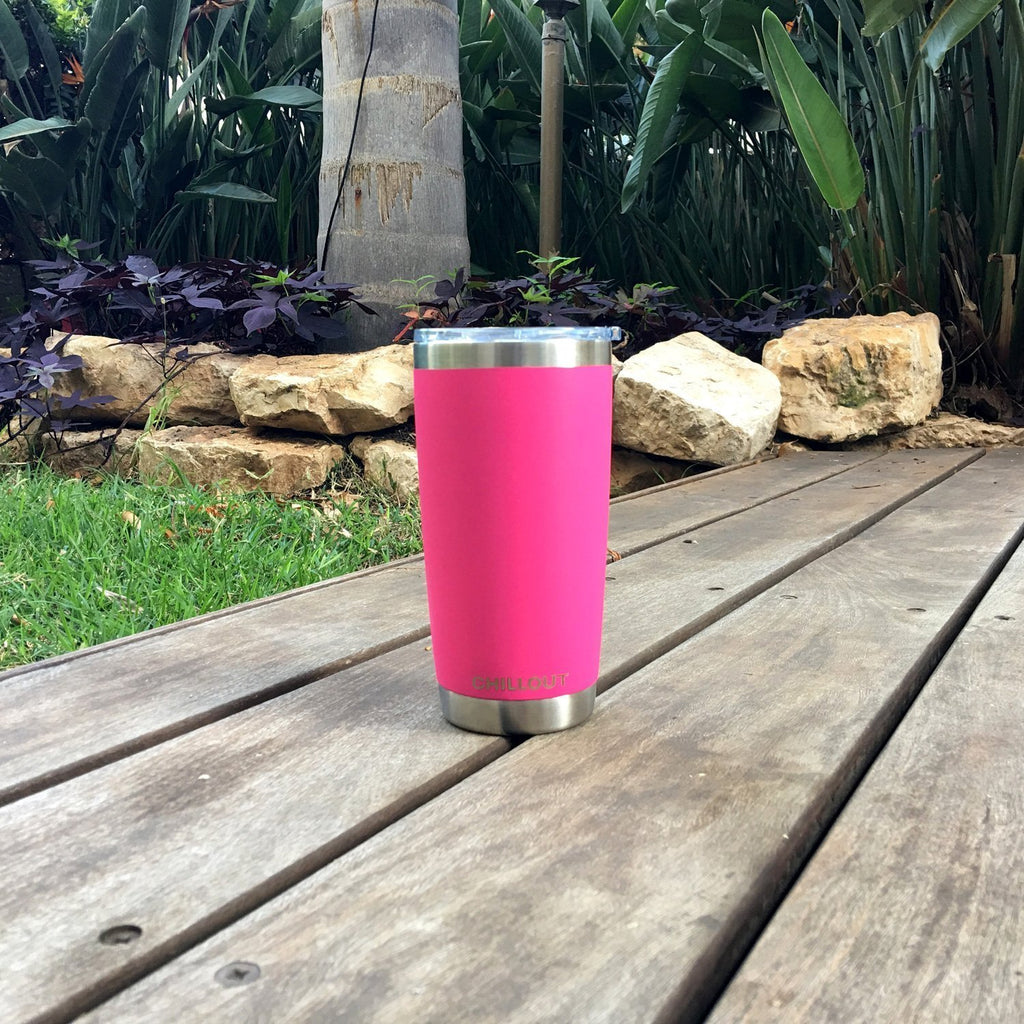 Stainless Steel Tumbler 20 oz with Sliding Lid - Powder Coated Tumbler, Hot Pink