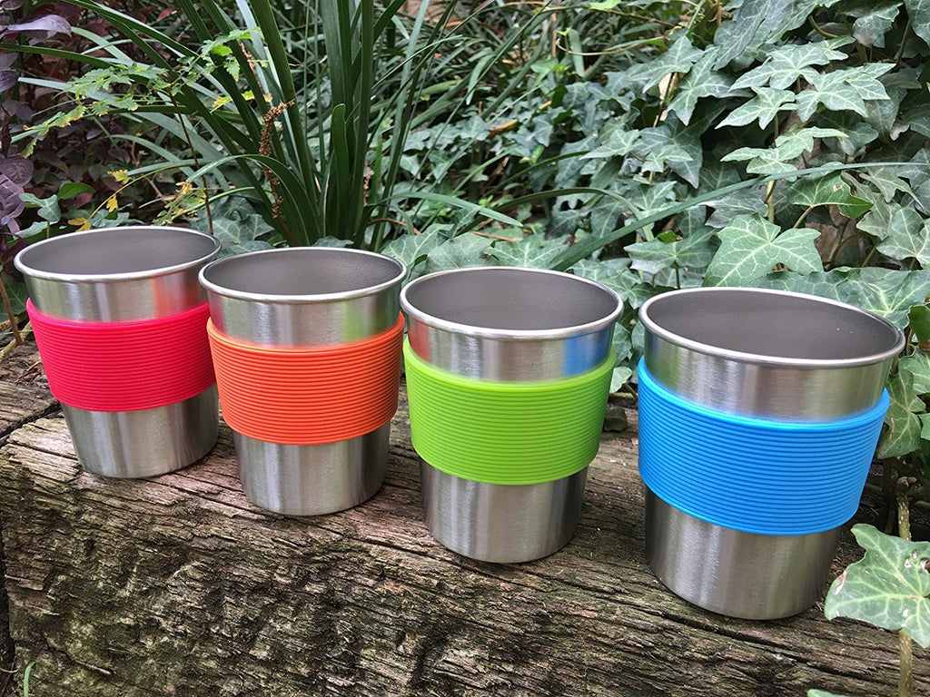 Stainless Steel Cups for Kids and Toddlers 8 oz with Silicone Sleeves (4-Pack)
