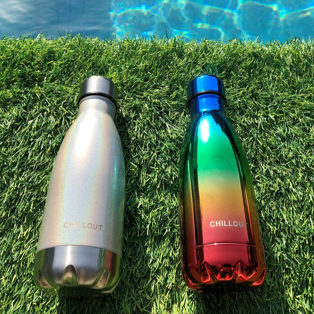 CHILLOUT LIFE Stainless Steel Water Bottle for Kids School: 12 oz Double Wall Insulated Cola Bottle Shape - Sparkle Holographic - CHILLOUT LIFE