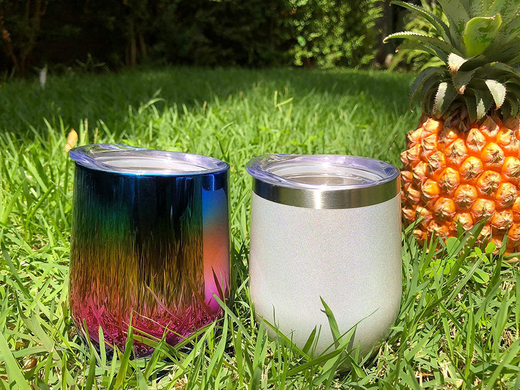 CHILLOUT LIFE 12 oz Stainless Steel Wine Tumbler 2 Pack - Sparkle Holographic (Without Straws) - CHILLOUT LIFE