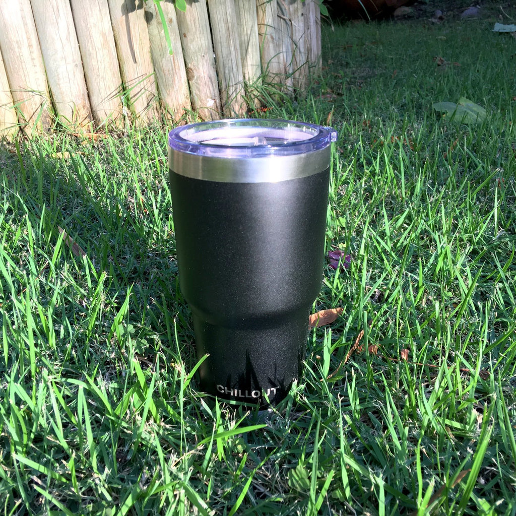 Stainless Steel Tumbler 30 oz with Sliding Lid - Powder Coated Tumbler, Black