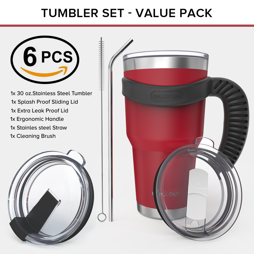 Stainless Steel Travel Mug with Handle 30oz – 6 Piece Set. Tumbler with Handle, Straw, Cleaning Brush & 2 Lids - Cherry Red Powder Coat Tumbler