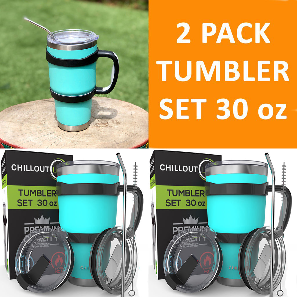 2 Stainless Steel Tumbler Set 30 oz with Sliding Lid – 6 Piece each Set, Powder Coated Aqua Blue - CHILLOUT LIFE