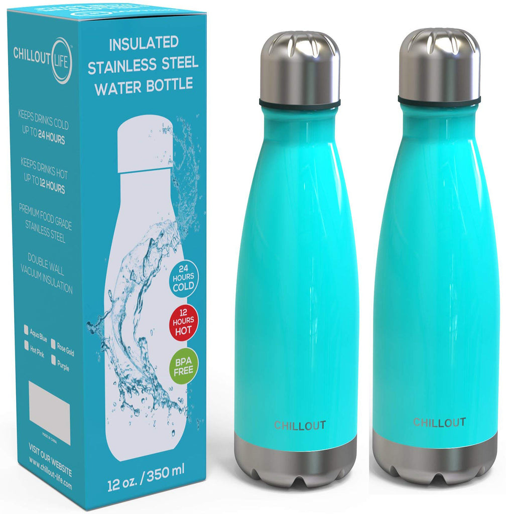 2 Pack Stainless Steel Water Bottle for Kids School: 12 oz Double Wall Insulated Cola Bottle Shape - Aqua Blue - CHILLOUT LIFE