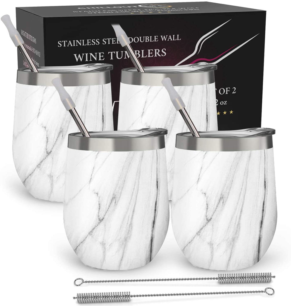 CHILLOUT LIFE 12 oz Stainless Steel Stemless Wine Tumbler with Lids and Straw 4 Pack - CHILLOUT LIFE