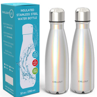 2 Pack Stainless Steel Water Bottle for Kids School: 12 oz Double Wall Insulated Cola Bottle Shape for Cold and Warm Drinks - Sparkle Holographic
