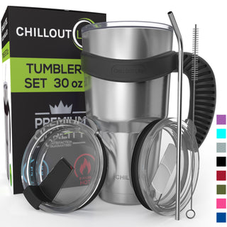 Stainless Steel Tumbler Set 30 oz with Sliding Lid – 6 Piece Set - CHILLOUT LIFE
