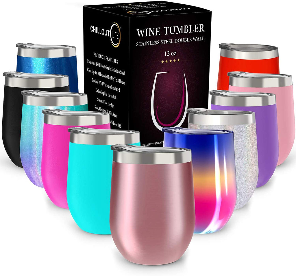 CHILLOUT LIFE 12 oz Stainless Steel Tumbler with Lid - Wine Tumbler Double Wall Vacuum Insulated Travel Tumbler Cup for Coffee, Wine, Cocktails, Ice Cream - CHILLOUT LIFE
