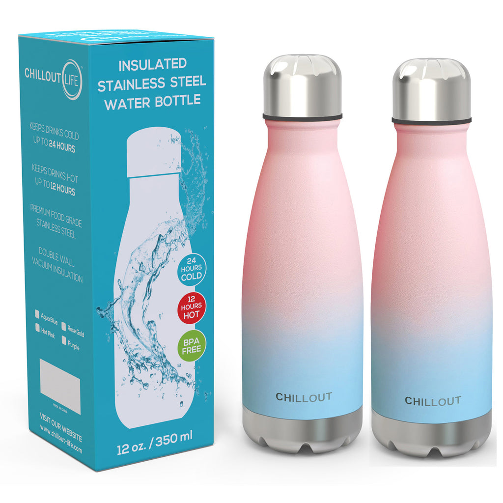 2 Pack Stainless Steel Water Bottle for Kids School: 12 oz Double Wall Insulated Cola Bottle Shape - Cotton Candy - CHILLOUT LIFE