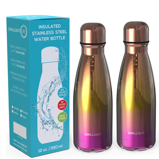 2 Pack Stainless Steel Water Bottle for Kids School: 12 oz Double Wall Insulated Cola Bottle Shape - UV Gold Multi Color - CHILLOUT LIFE