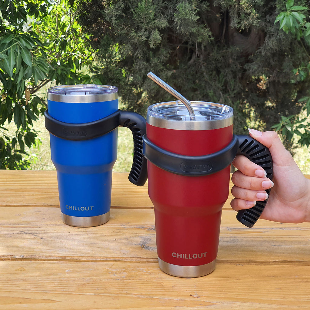 Stainless Steel Travel Mug with Handle 30oz – 6 Piece Set. Tumbler with Handle, Straw, Cleaning Brush & 2 Lids - Royal Blue Powder Coat Tumbler - CHILLOUT LIFE