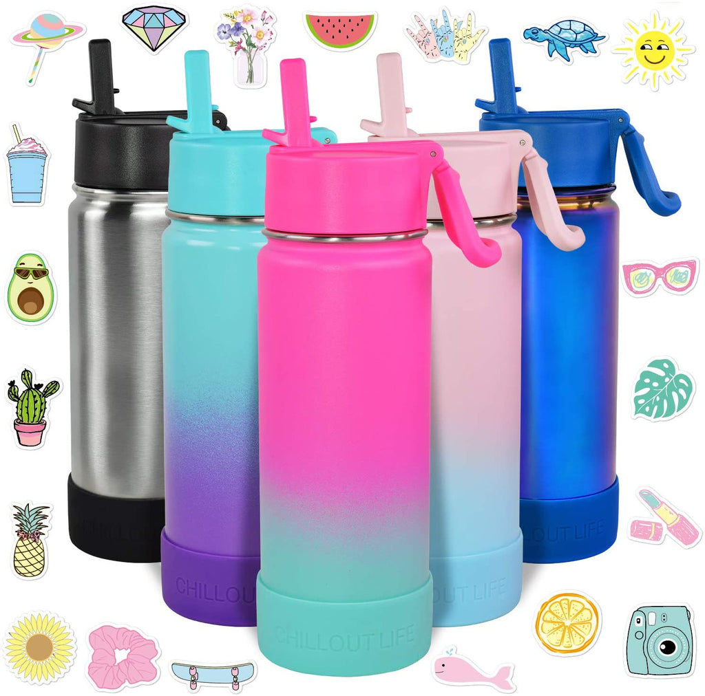 CHILLOUT LIFE 17 oz Insulated Water Bottle with Straw Lid for Kids and Adult + 20 Cute Waterproof Stickers - Perfect for Personalizing Your Kids Metal Water Bottle(Frozen Slushy) - CHILLOUT LIFE