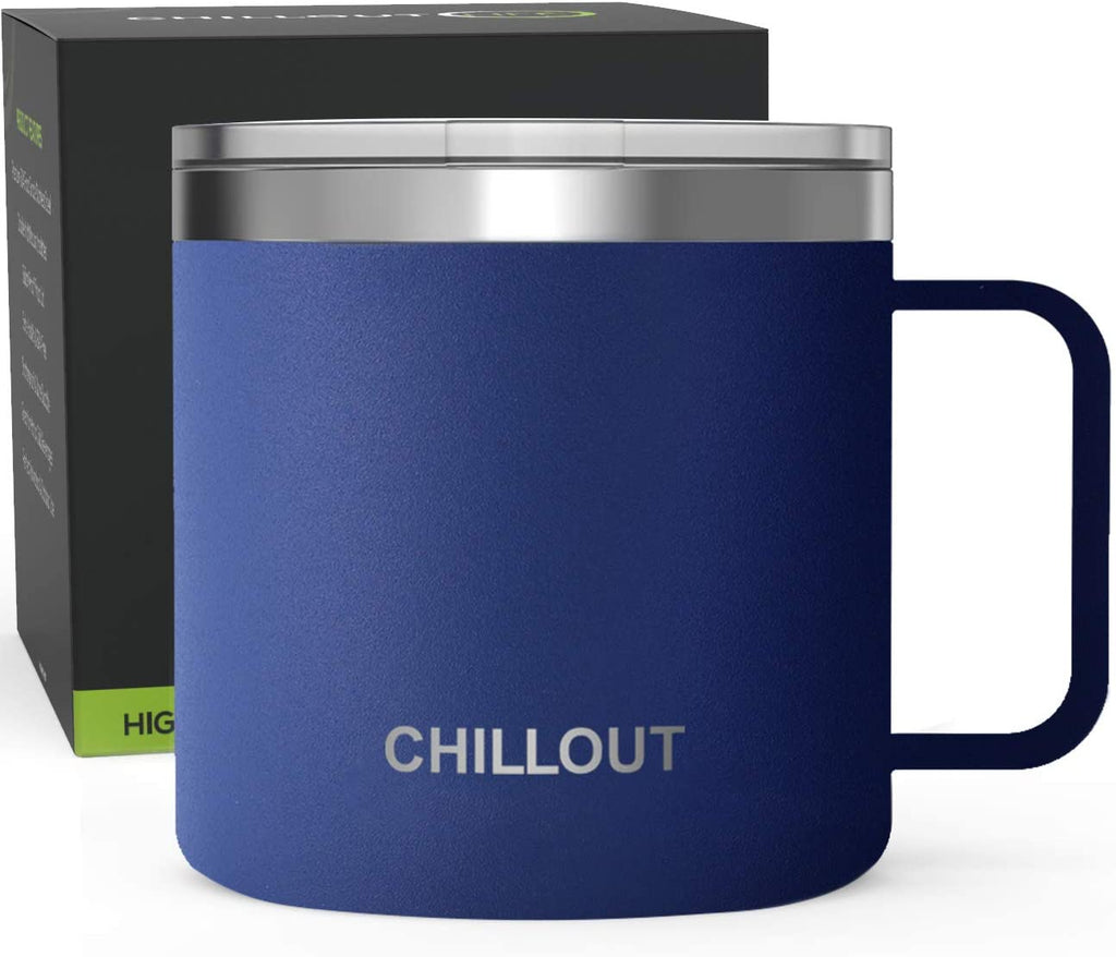 16 oz Stainless steel Vacuum Insulated Coffee Mug with Handle and Lid, Large Thermal Camping Coffee Mug Cup with Durable Sliding Lid for Men & Women - Keeps your Beverages Hot/Cold for a Long Time - Navy Blue - CHILLOUT LIFE