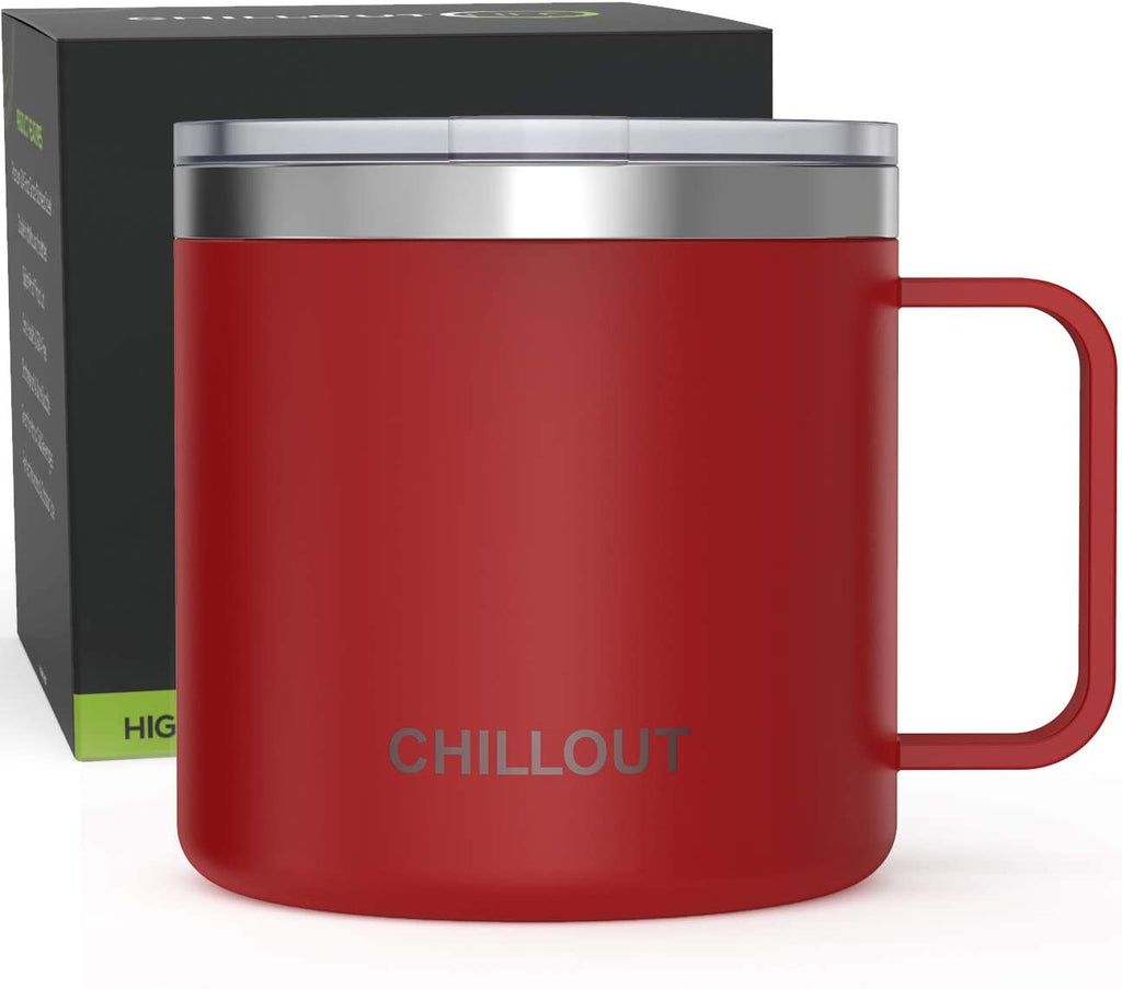 16 oz Stainless steel Vacuum Insulated Coffee Mug with Handle and Lid, Large Thermal Camping Coffee Mug Cup with Durable Sliding Lid for Men & Women - Keeps your Beverages Hot / Cold for a Long Time - Cherry Red - CHILLOUT LIFE