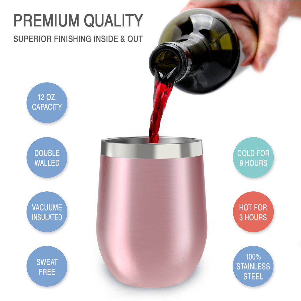 CHILLOUT LIFE 12 oz Stainless Steel Wine Tumbler 2 Pack for Coffee, Wine, Cocktails, Ice Cream, Rose Gold Wine Tumblers - CHILLOUT LIFE