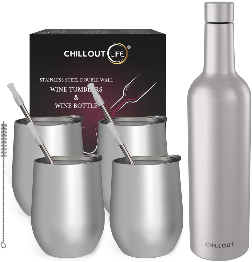 CHILLOUT LIFE Stainless Steel Wine Tumblers 4 Pack 12 oz & 1 Insulated Wine Bottle - Double Wall Vacuum Insulated Wine Cups with Lids and Straws Set - CHILLOUT LIFE