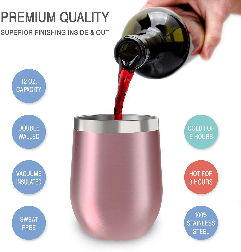CHILLOUT LIFE 12 oz Stainless Steel Stemless Wine Tumbler with Lids and Straw 4 Pack - Rose Gold - CHILLOUT LIFE