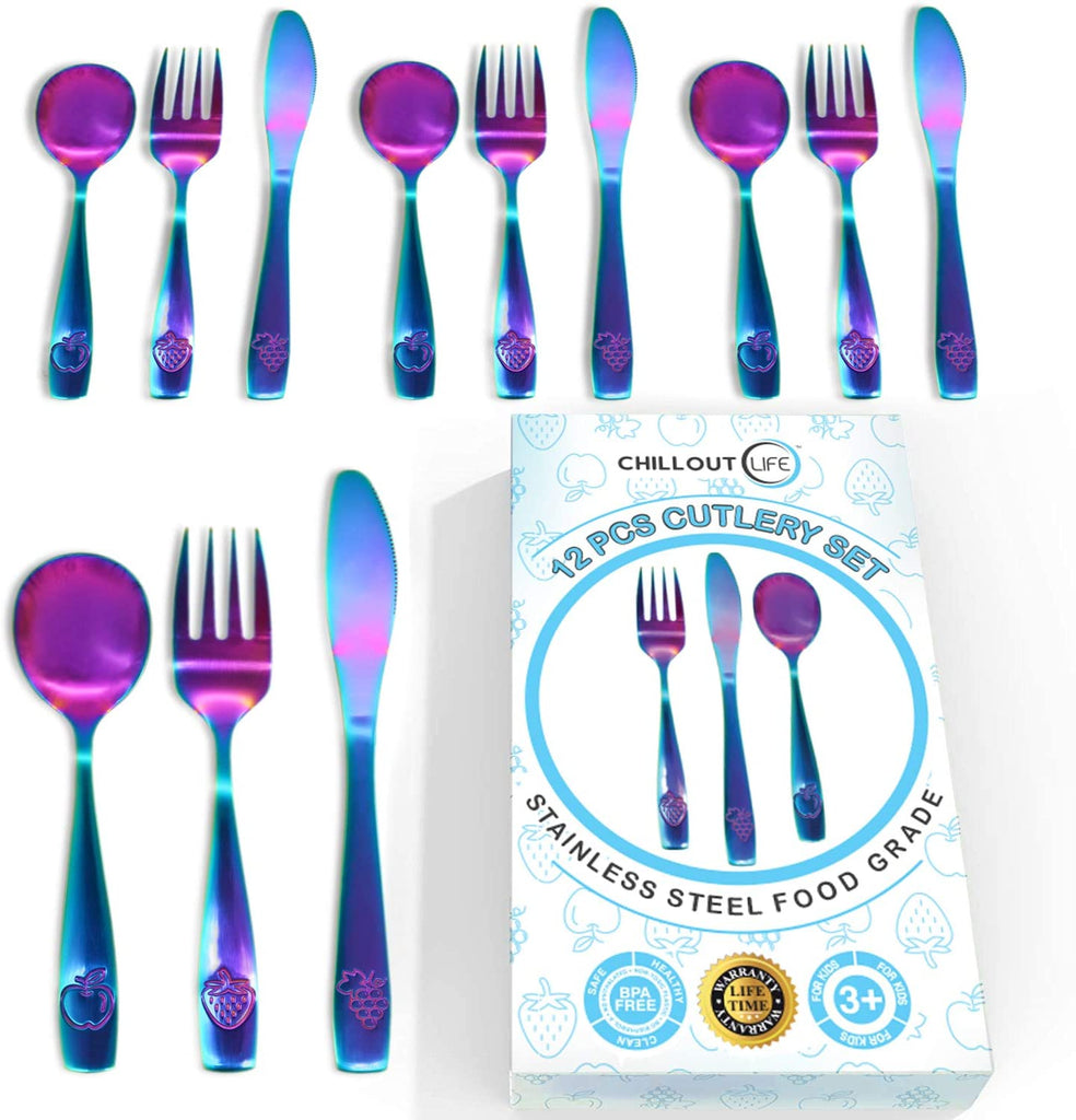 12 Piece Stainless Steel Kids Silverware Set - Child and Toddler Safe Flatware - Kids Utensil Set - Metal Kids Cutlery Set Includes 4 Small Kids Spoons, 4 Forks & 4 Knives - UV Rainbow - CHILLOUT LIFE