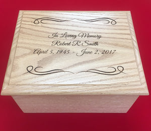 Custom Laser Engraved Oak Urns for $130