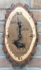 Custom laser engraved rustic clock