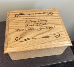 Oak Urn Custom Laser Engraved