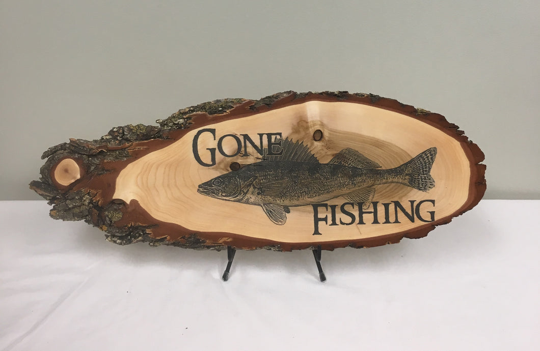 Gone Fishing Walleye Laser Wood Art