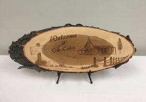 Welcome to our Cabin Laser Engraved Wood Art