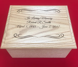 Custom laser engraved oak urn