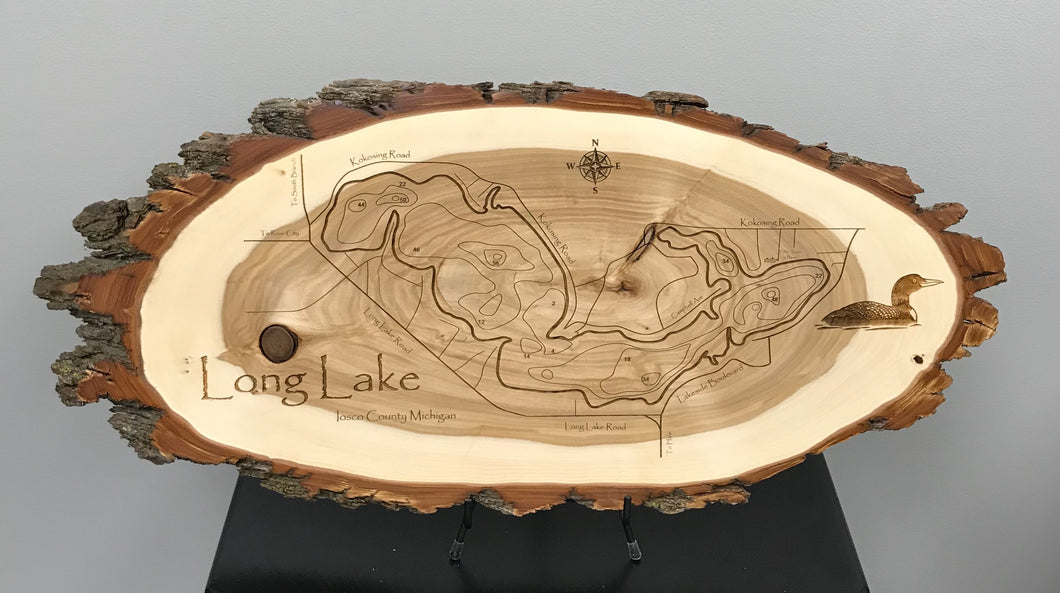 Long Lake Laser Engraved Wood Plaque