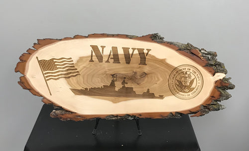 Navy Laser Engraved Wood Plaque