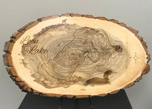 Loon Lake Laser Engraved Wood Art
