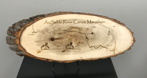 AuSable River Canoe Marathon Laser Engraved Wood Plaque