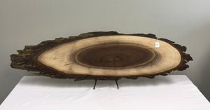 Walnut Finished Bark on Oval Wood Slice