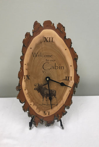 Clock - Welcome to the Cabin Moose  Laser Engraved Clock - Rustic Wood Clock - Rustic Home Decor