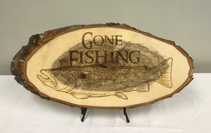 Gone Fishing Laser Engraved Wood Art